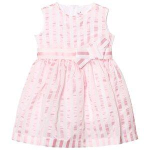 Image of Il Gufo Girls Dresses Pink Pink Stripe Seersucker Silk Bow Dress