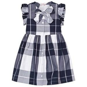 Image of Il Gufo Girls Dresses Navy Navy Check Frill Sleeve Dress with Bow Front