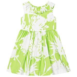 Image of Il Gufo Girls Dresses Green Lime Floral Print Frill Collar Dress