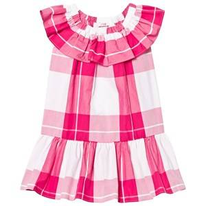 Image of Il Gufo Girls Dresses Pink Fuchsia Frill Drop Waist Dress