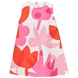 Image of Il Gufo Girls Dresses Pink Pink Orange Abstract Floral Dress