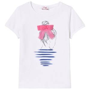 Il Gufo Girls Tops White White Girl Print Applique Bow Detail Tee