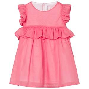 Image of Il Gufo Girls Dresses Pink Pink Cotton Frill Sleeve Peplum Dress