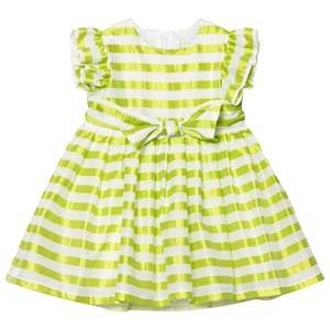 Image of Il Gufo Girls Dresses Yellow Yellow Stripe Silk Seersucker Frill Bow Dress
