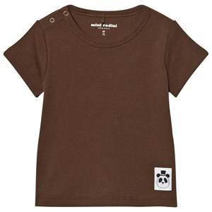 Mini Rodini Unisex Tops Brown Solid Rib Short Sleeved Tee Brown