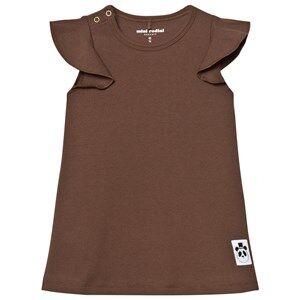 Mini Rodini Girls Dresses Brown Solid Rib Wing Dress Brown