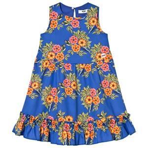 Image of MSGM Girls Dresses Blue Blue Floral Frill Detail Dress