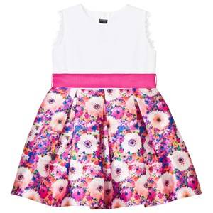 Image of Oscar De La Renta Girls Dresses Pink Pink Rainbow Dahlia Mikado Party Dress