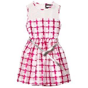Image of Relish Girls Dresses Pink Pink and White Mesh Yoke Party Dress