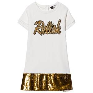 Image of Relish Girls Dresses Cream Cream and Gold Sequin Detail Sweat Dress