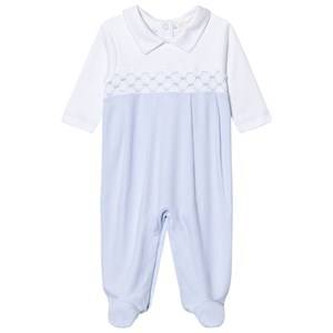 Image of Kissy Kissy Boys All in ones Blue Light Blue Smock Front Footed Baby Body