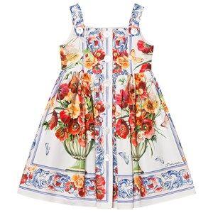 Image of Dolce & Gabbana Girls Dresses Pink Floral Majolica Print Dress