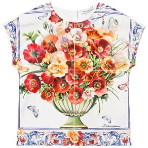 Image of Dolce & Gabbana Girls Tops Pink White and Pink Floral Print Jersey and Poplin Top