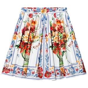 Image of Dolce & Gabbana Girls Skirts Pink White and Pink Floral Print Skirt