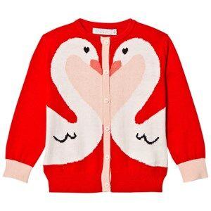 Stella McCartney Kids Girls Jumpers and knitwear Red Lauren Swan Cardigan Robin Red