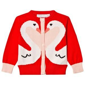 Image of Stella McCartney Kids Girls Jumpers and knitwear Pink Red Swan Lauren Baby Cardigan Robin Red