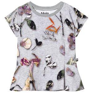 Molo Girls Tops Grey Robbin T-Shirt Paper Petals Melange