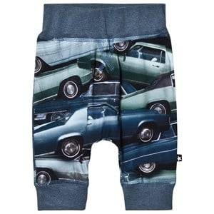 Molo Boys Bottoms Blue Sammy Soft Pants Stacked Cars