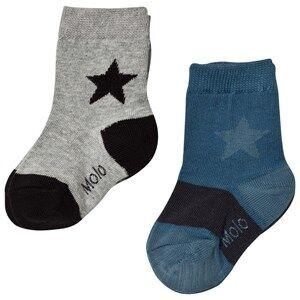 Molo Unisex Underwear Blue Nitis 2-Pack Socks Stellar Blue