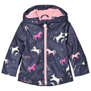 Tom Joule Girls Coats and jackets Navy Raindance Waterproof Rubber Raincoat French Navy Multi Horse