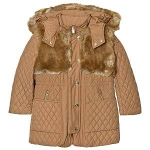 Image of Chloé Girls Coats and jackets Beige Tan Long Line Quilted Coat with Faux Fur Hood