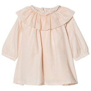 Chloé Girls Dresses Pink Pale Pink Ruffle Neck Twill Dress