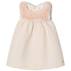 Image of Chloé Girls Dresses Pink Lurex Jacquard Faux Fur Dress Pink/White