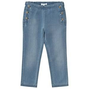 Image of Chloé Girls Bottoms Blue Chambray Jeggings with Gold Details
