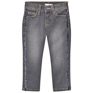 Billieblush Girls Bottoms Blue Light Wash Slim Fit Jeans with Glitter Trim
