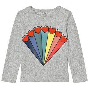 Stella McCartney Kids Girls Tops Grey Grey Rainbow Heart Bella Tee