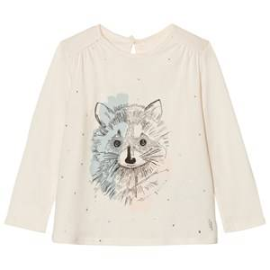 Carrément Beau Girls Tops Cream Cream Racoon Illustration Print Tee