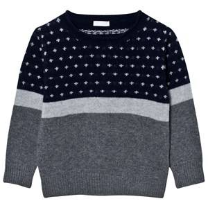 Il Gufo Boys Jumpers and knitwear Navy Patterned Sweater Navy/Grey