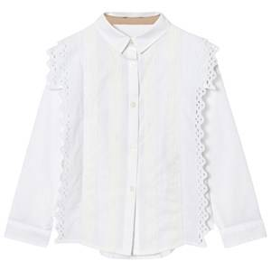 Image of Burberry Girls Tops White White Broderie Anglaise Larcy Shirt