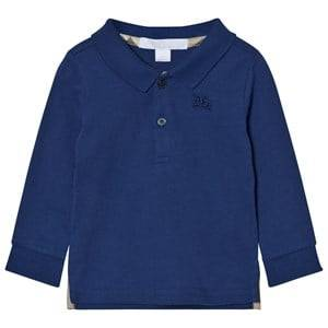 Burberry Boys Tops Blue Long Sleeve Polo Marine Blue