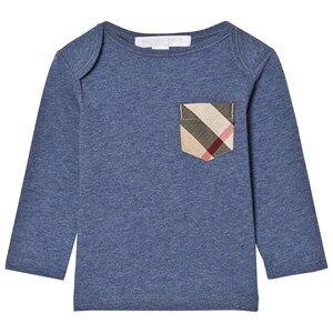 Burberry Boys Tops Blue Long Sleeve Check Pocket Tee Slate Blue