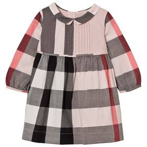 Image of Burberry Girls Dresses Pink Long Sleeve Check Pintuck Dress Vintage Pink