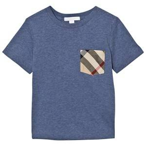 Burberry Boys Tops Blue Slate Blue Check Pocket Tee