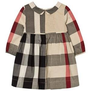 Image of Burberry Girls Dresses Beige Long Sleeve Check Pintuck Dress Beige