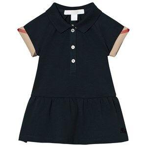 Image of Burberry Girls Dresses Navy Cali Polo Dress Check Detail Navy