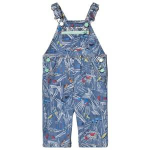 Image of Stella McCartney Kids Girls All in ones Blue Blue Scribble Skates Print Buzzby Overall