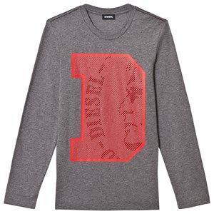 Diesel Boys Tops Grey Slim Knit D Logo Tee Grey