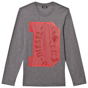 Diesel Boys Tops Grey Slim Knit D Logo Tee Grey