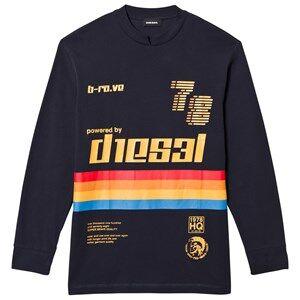 Diesel Boys Jumpers and knitwear Navy Long Sleeve Rainbow Stripe Tee Navy