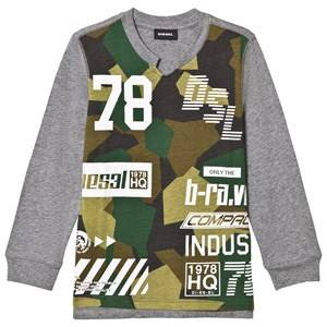 Diesel Boys Jumpers and knitwear Grey Long Sleeve Logo Print Tee Grey/Green