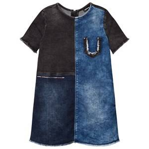Image of Diesel Girls Dresses Blue Blue and Navy Woven Dress