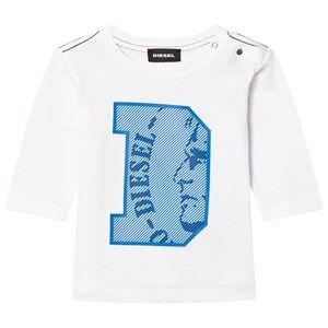 Diesel Boys Tops White Long Sleeve D Logo Tee White/Blue