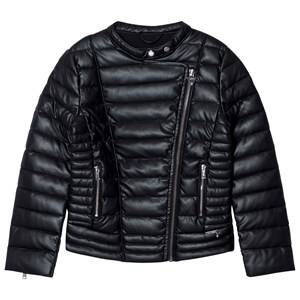Guess Girls Coats and jackets Black Black Padded Pleather Biker Jacket