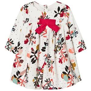 Image of Catimini Girls Dresses Multi Multi Flower Print Microcord Dress with Bow Detail