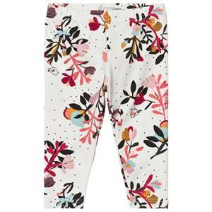 Catimini Girls Bottoms Cream Cream Flower and Bird Print Leggings