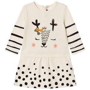 Catimini Girls Dresses Cream Cream Spot and Stripe Deer Print Jersey Dress